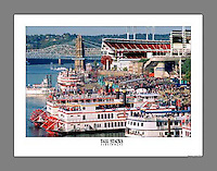 Custom printed, signed, and numbered 19x24 poster showcasing the Tall Stacks festival on Cincinnati's riverfront