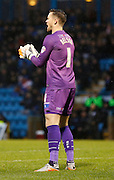 Gillingham FC goalkeeper Stuart Nelson shows his players some encouragement for their first half performance during the Sky Bet League 1 match between Gillingham and Bury at the MEMS Priestfield Stadium, Gillingham, England on 14 November 2015. Photo by Andy Walter.
