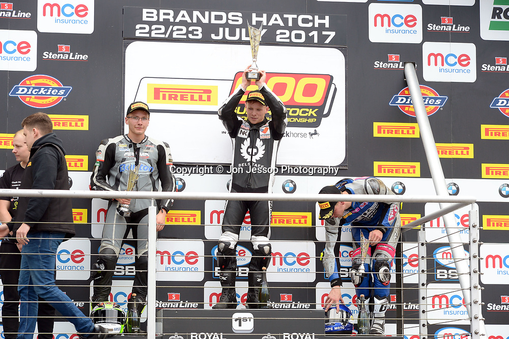 Superstock 600 Podium #68 Tom Neave #12 Brad Jones #20 Tom Oliver Pirelli National Superstock 600 Podium