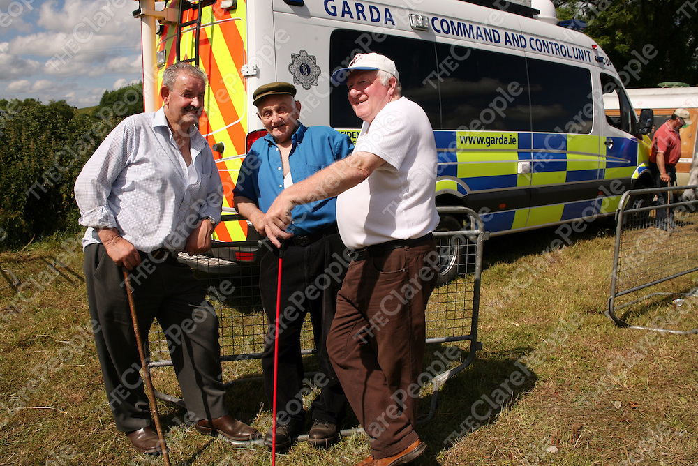 Edward McQuillan, John Bowans and William Lappan from Armagh at the annual Spancilhill Horse Fair on Tuesday.<br /> Photograph by Yvonne Vaughan