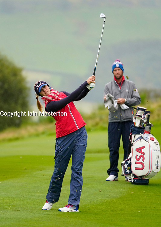 Auchterarder, Scotland, UK. 12 September 2019. Final practice day at 2019 Solheim Cup on Centenary Course at Gleneagles. Pictured; Jessica Korda plays approach shot to 3rd hole. Iain Masterton/Alamy Live News