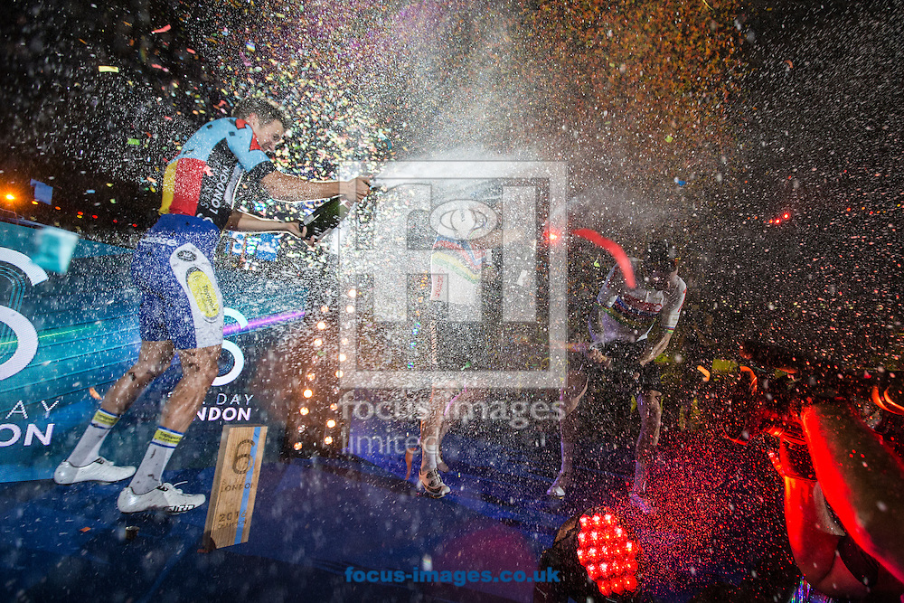 Moreno De Pauw (left) celebrates victory in the six days standings with second place competitors Mark Cavendish and Sir Bradley Wiggins on day six of the Six Day cycling series at Lee Valley VeloPark, London, UK<br /> Picture by Ryan Dinham/Focus Images Ltd +44 7900 436859<br /> 30/10/2016