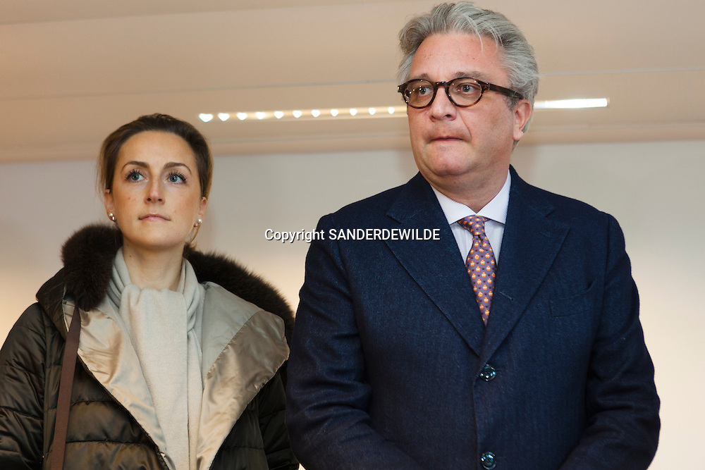 Prince Laurent of Belgium, and the Prince Laurent Fondation opens temporary shelters in Brussels for homeless with dogs.   on this picture Princess Claire (l) and Prince Laurent.Brussels, Belgium, 6 december 2011.