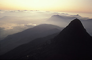 Sri Lanka.<br />an aerial view of Adams Peak, or Samanala Kanda, the Holy Mountain of the island. It is said that the Buddha left his footprint at the top of the mountain.