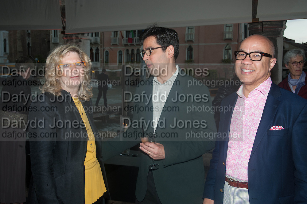 CAREY LOVELACE; LUIS UBINAS; DARREN WALKER, The Bronx Museum of the Arts, Tanya Bonakdar Gallery and the Victoria Miro Gallery host a reception and dinner in honor of Sarah Sze: Triple Point. Representing the United States of America at the 55th Biennale di Venezia with the Co  Commissioners of the  U. S. Pavilion Holly Block, Executive Director of the Bronx Museum of the arts  and Carey Lovelace. <br /> <br /> Rialto Fish market. Venice. . 29 May 2013