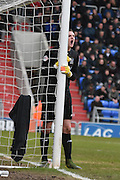 Bury Goalkeeper, Ian Lawlor organizes another wall during the Sky Bet League 1 match between Oldham Athletic and Bury at Boundary Park, Oldham, England on 23 January 2016. Photo by Mark Pollitt.
