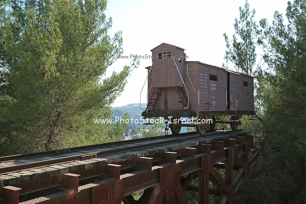 Israel, Jerusalem Yad Vashem, the memorial to the Six Million Jews murdered during the holocaust in world war two. It is also a research and documentation center. Train Cart used to transport Jews to trhe camps