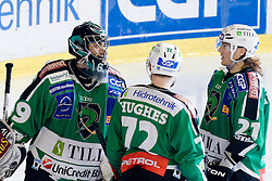 Matija Pintaric (HDD Tilia Olimpija, #69), John Hughes (HDD Tilia Olimpija, #72) and Tomi Mustonen (HDD Tilia Olimpija, #21) during ice-hockey match between HDD Tilia Olimpija and HK Acroni Jesenice in 1st game of Final, Slovenian National Championship, on April 1, 2011 at Hala Tivoli, Ljubljana, Slovenia. (Photo By Matic Klansek Velej / Sportida.com)