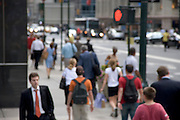 out of focus view of pedestrians on a New York street