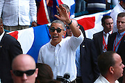 President Obama arrives at Cuba's national stadium.