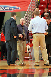 05 November 2016:  Marty Bell speaks with coaches Ryan Hellenthal, Adam Notteboom and Mike Kindhart during an NCAA  mens basketball game where the Quincy Hawks lost to the Illinois State Redbirds in an exhibition game at Redbird Arena, Normal IL
