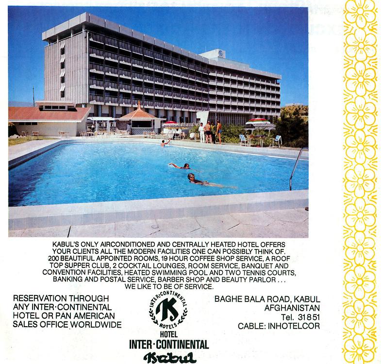 AFGHANISTAN historisch - 1977 <br />Werbeanzeige f&uuml;r das HOTEL INTERCONTINENTAL<br />in KABUL...<br />copyright : AFGHAN TOURIST ORGANIZATION
