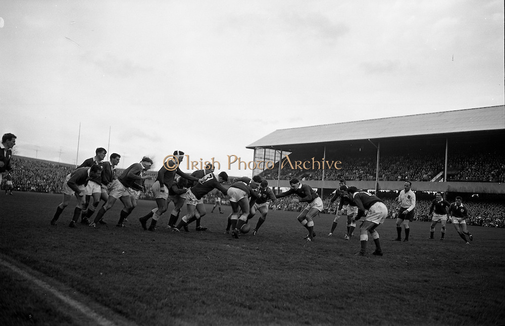 Rugby International, Ireland v Wales, Lansdowne Road, Dublin.  Irish forwards, Mulcahy and McBride, lead a dangerous foot rush.<br /> 17.11.1962