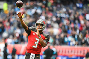 Tampa Bay Buccaneers Quarterback Jameis Winston (3) throws a pass during the International Series match between Tampa Bay Buccaneers and Carolina Panthers at Tottenham Hotspur Stadium, London, United Kingdom on 13 October 2019.