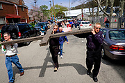 "Christian faithful act out ""The Drama of the Cross"" in the streets of Etna, Pa. on April 14, 2017, in Etna, Pa."