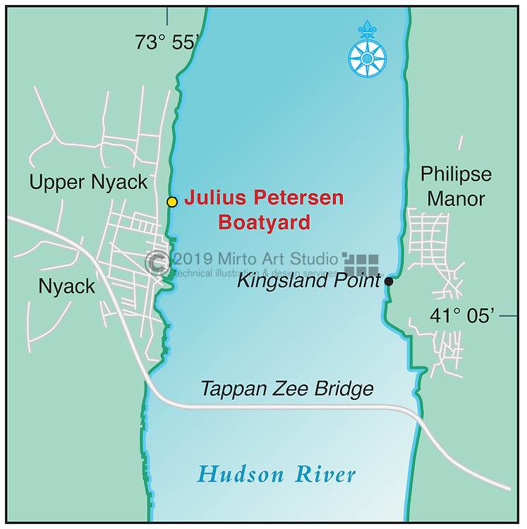 Vector map of Nyack, New York marina