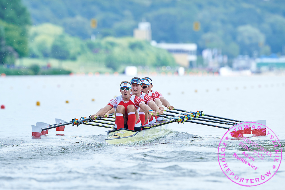 (bow) Mateusz Biskup and Dariusz Radosz and  Miroslaw Zietarski and (stroke) Wiktor Chabel all from Poland compete at Men&rsquo;s Quadruple Sculls (M4x) during first day the 2015 European Rowing Championships on Malta Lake on May 29, 2015 in Poznan, Poland<br /> Poland, Poznan, May 29, 2015<br /> <br /> Picture also available in RAW (NEF) or TIFF format on special request.<br /> <br /> For editorial use only. Any commercial or promotional use requires permission.<br /> <br /> Mandatory credit:<br /> Photo by &copy; Adam Nurkiewicz / Mediasport