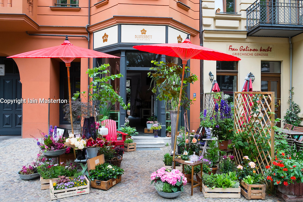 Flower shop in bohemian Prenzlauer Berg district of Berlin Germany