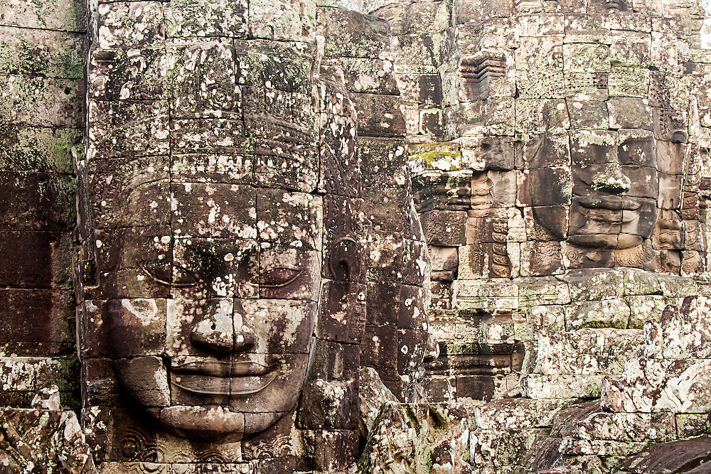 Carved Heads At Bayon Temple, Angkor Thom, Cambodia