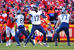 Jan 19, 2020; Kansas City, Missouri, USA; Tennessee Titans quarterback Ryan Tannehill (17) throws a pass during the first quarter against the Kansas City Chiefs in the AFC Championship Game at Arrowhead Stadium. Mandatory Credit: Denny Medley-USA TODAY Sports