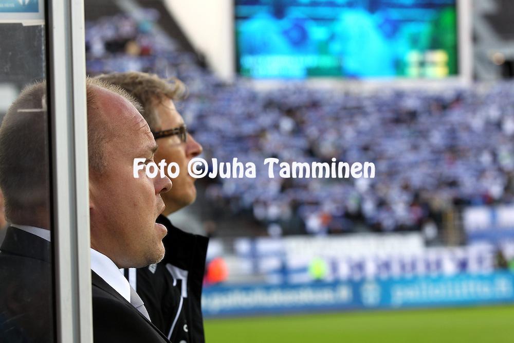 "2.9.2011, Olympiastadion, Helsinki..UEFA European Championship 2012 Qualifying match, Finland v Moldova / EM-karsintaottelu Suomi - Moldova..Valmentaja / Coach Mika-Matti ""Mixu"" Paatelainen - Finland.."