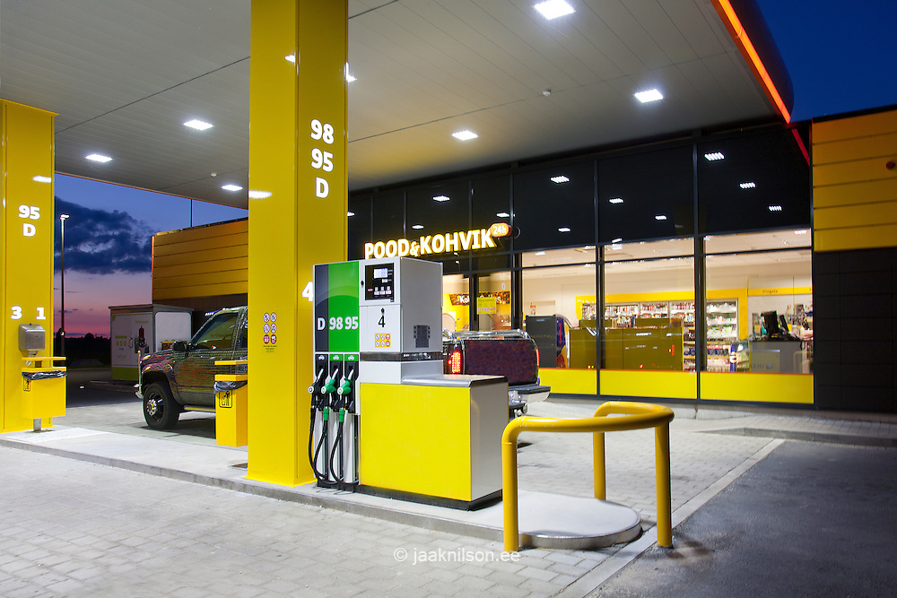 Modern gas station at night