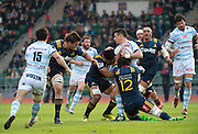 Racing 92 player DAN CARTER during the first half of the Natixis Cup rugby match between French team Racing 92 and New Zealand team Otago Highlanders at Sui San Wan Stadium in Hong Kong.