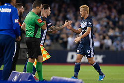 February 23, 2019 - Melbourne, VIC, U.S. - MELBOURNE, VIC - FEBRUARY 23: Melbourne Victory midfielder Keisuke Honda (4) is subbed off at round 20 of the Hyundai A-League Soccer between Melbourne City FC and Melbourne Victory on February 23, 2019 at Marvel Stadium, VIC. (Photo by Speed Media/Icon Sportswire) (Credit Image: © Speed Media/Icon SMI via ZUMA Press)