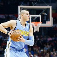24 February 2016: Denver Nuggets forward Danilo Gallinari (8) looks to pass the ball during the Denver Nuggets 87-81 victory over the Los Angeles Clippers, at the Staples Center, Los Angeles, California, USA.