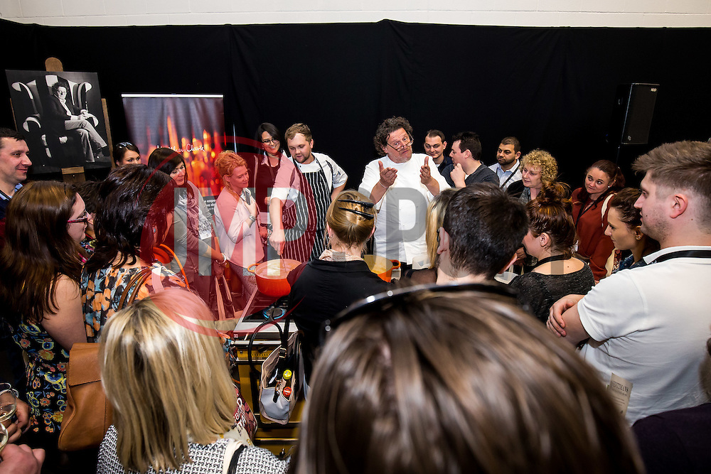 Celebrity Chef Marco Pierre White gives a demonstration during the Matthew Clark Uncovered Bristol event at Ashton Gate - Mandatory byline: Rogan Thomson/JMP - 12/04/2016 - PR - Ashton Gate Stadium - Bristol, England.