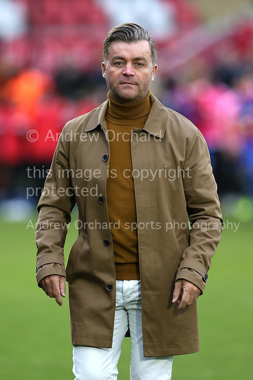 Steve King, the Whitehawk manager walks onto the pitch towards the dugout before k/o. The Emirates FA Cup, 2nd round match, Dagenham &amp; Redbridge v Whitehawk FC at the The London Borough of Barking &amp; Dagenham Stadium in London on Sunday 6th December 2015.<br /> pic by John Patrick Fletcher, Andrew Orchard sports photography.