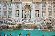 "Trevi fountain in Rome. The fountain at the junction of three roads (tre vie) marks the terminal point of the ""modern"" Acqua Vergine, the revived Aqua Virgo, one of the ancient aqueducts that supplied water to ancient Rome...."
