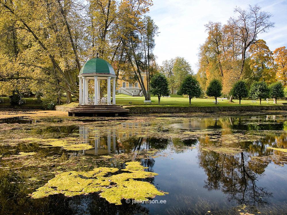 Palmse Manor Arbor by Pond in Lääne-Viru County, Estonia, Europe