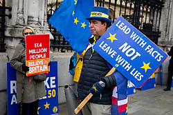 © Licensed to London News Pictures. 04/11/2019. London, UK. Anti-Brexit campaigner Steve Bray demonstrates outside the Houses of Parliament this morning. Photo credit : Tom Nicholson/LNP