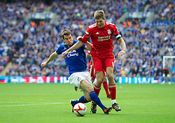 LONDON, ENGLAND - Saturday, April 14, 2012: Liverpool's captain Steven Gerrard is fouled by Everton's Seamus Coleman during the FA Cup Semi-Final match at Wembley. (Pic by David Rawcliffe/Propaganda)