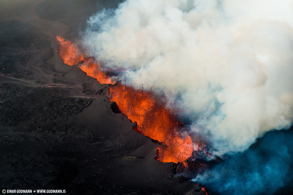 Eruption in Holuhraun, Iceland. Taken 1st. of september 2014. The location is north of Bardarbunga volcano.