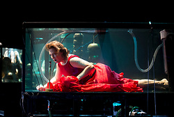Creator and singer Laila Skovnand performs with musicians in water filled glass tanks as part of the Sonica 2017 Festival to be held in Glasgow from 26th October to 5th November this year.<br /> <br /> &copy; Dave Johnston/ EEm