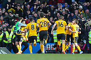GOAL 0-1 Wolverhampton Wanderers forward Raul Jimenez (9) scores and celebrates during the Premier League match between Chelsea and Wolverhampton Wanderers at Stamford Bridge, London, England on 10 March 2019.