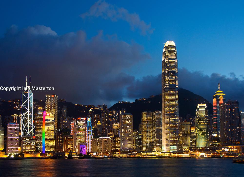 Evening view of skyline of Hong Kong