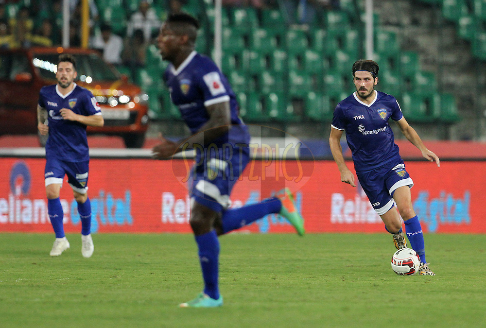 Bojan Djordjic of Chennaiyin FC on the attack during match 50 of the Hero Indian Super League between Chennaiyin FC and FC Goa held at the Jawaharlal Nehru Stadium, Chennai, India on the 5th December 2014.<br /> <br /> Photo by:  Vipin Pawar/ ISL/ SPORTZPICS