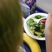 Maddox Harris, 8, a second grader at Joyner Elementary School, eats her salad salad during lunch on Tuesday. Students at Joyner were able to eat at the school's new salad bar at lunch. The salad bar is a part of a larger effort by the Tupelo Public School District to make healty habits part of students everyday lives.