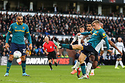 Jarrod Bowen shoots at goal during the EFL Sky Bet Championship match between Derby County and Hull City at the Pride Park, Derby, England on 18 January 2020.