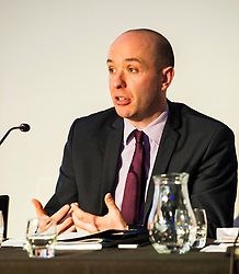 Pictured:  Marco Biagi (SNP)<br /> <br /> Candidates from the five main parties faced questions at the Building Scotland's Future election hustings today. The panalists, Kath Gordon (Lib Dem), Marco Biagi (SNP), Monica Lennon (Labour), Ian McGill (Conservatives) and Maggie Chapman (Co-convenor of the Scottish Greens) were quizzed on issued affecting infrastructure and the build environment.  <br /> <br /> Ger Harley | EEm 19 April 2016