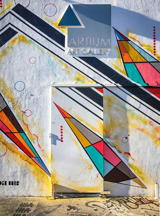 The painted door of the Artium Art Gallery in Miami's high trending Wynwood neghborhood