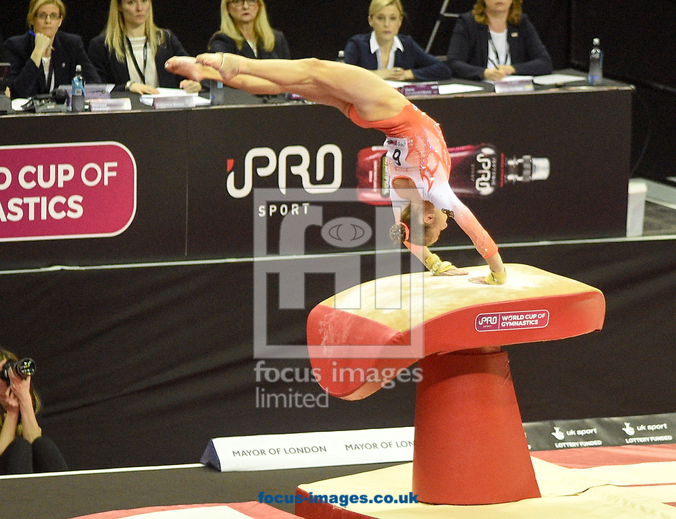 Tabea Alt on the vault Women's iPro World Cup of Gymnastics 2017 at the O2 Arena, London, UK.<br /> Picture by Hannah Fountain/Focus Images Ltd 07814482222<br /> 08/04/2017