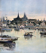 General view of Bankok, Thailand (Siam).  French threatened to blockade the port in order to reinforce fading French influence. Siam surrendered. From 'Le Petit Journal', Paris, 12 August 1893. Europe, Asia, Dominance,Trade