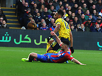 Football - 2019 / 2020 Premier League - Crystal Palace vs. Arsenal<br /> <br /> Pierre - Emerick Aubameyamg of Arsenal scores his first half goal past Martin Kelly, at Selhurst Park.<br /> <br /> COLORSPORT/ANDREW COWIE
