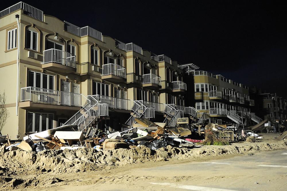 The scene in Far Rockaway, Queens, N.Y. following Hurricane Sandy, lit by generators, Nov. 3, 2012.