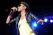 MC Lyte performing on the Legends of Hip Hop Tour at the Chaifetz Arena in St. Louis, Missouri on March 12, 2011.
