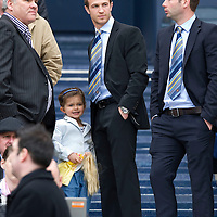 Motherwell v St Johnstone.....16.04.11  Scottish Cup Semi-Final<br /> Chris Millar with his daughter alongside Peter MacDonald<br /> Picture by Graeme Hart.<br /> Copyright Perthshire Picture Agency<br /> Tel: 01738 623350  Mobile: 07990 594431